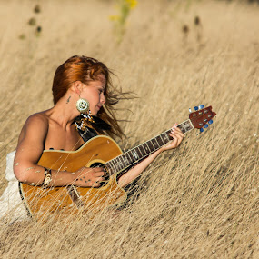 Country music by Leonor Machado - People Portraits of Women ( music, blonde, sunny, country music, cowgirl, guitar )
