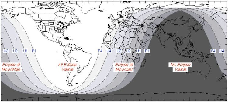 A graph of which sections of the Earth will be able to view the lunar eclipse on Monday, January 21 2019. Picture: Nasa
