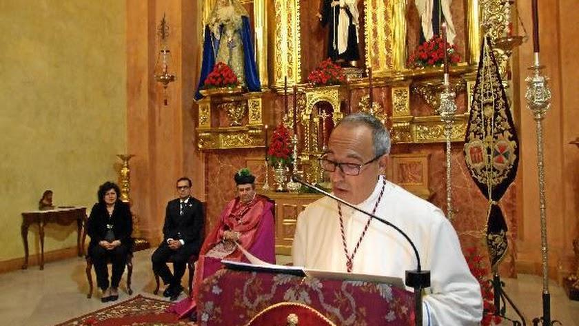 Enrique Marín, en un momento de su pregón de la Hermandad del Prendimiento.