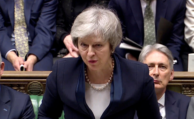 UK Prime Minister Theresa May addresses Parliament after the vote on May's Brexit deal, in London, Britain, January 15, 2019 in this screengrab taken from video. Picture: REUTERS