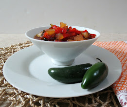 Photo: Pepper Jelly (Quick Jam) - A sweet and spicy jelly made with sweet bell peppers, apples and jalapeno, perfect for topping on cream cheese.  http://www.peanutbutterandpeppers.com/2012/11/25/pepper-jelly-weekly-recap/  #pepperjelly   #quickjam   #jalapenojelly   #sweetpepper   #jelly   #jam