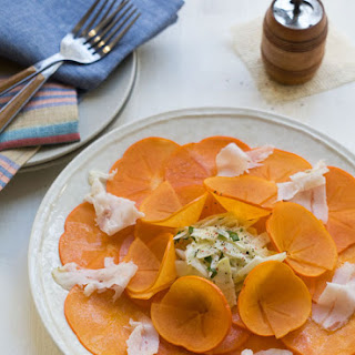 Persimmon Salad with Fennel and Lardo