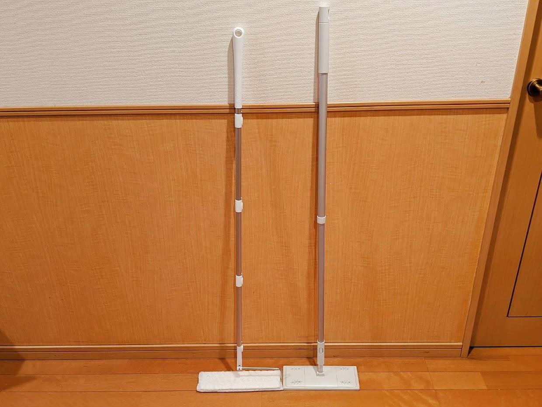 フロアワイパー2種類を並べている画像左ウェーブ右無印