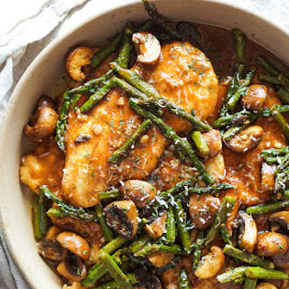 Chicken Marsala with Mushrooms and Asparagus.