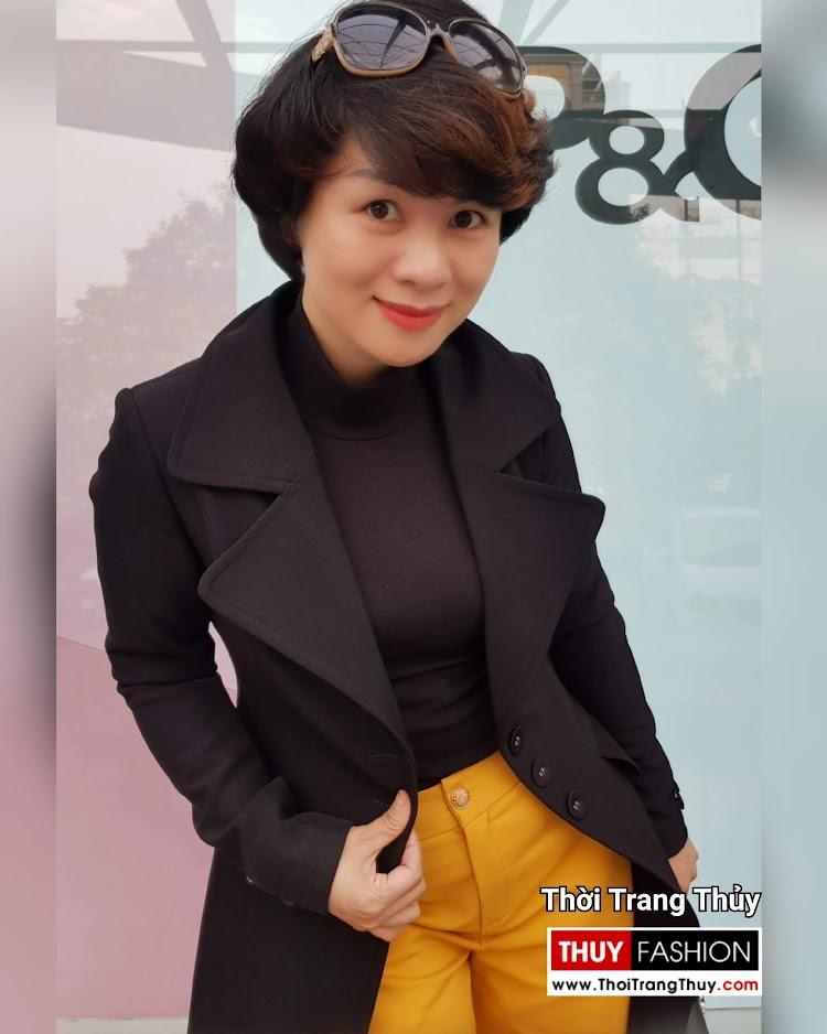 Áo khoác dạ nữ dáng dài màu đen cổ vest rộng V694 thời trang thủy hải phòng 2