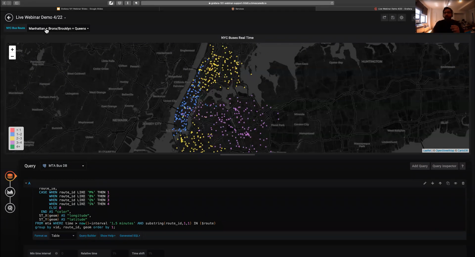 Grafana panel section showing the SQL query and Worldmap visual to monitor the real-time location of New York City buseses