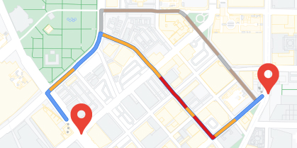 Directions between two pins on a map
