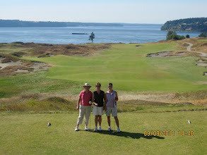 Photo: Linda, Janet, Vicky at Chambers Bay Golf Course overlooking Puget Sound