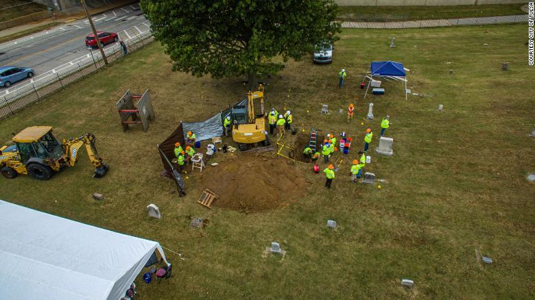 The excavation at Oaklawn Cemetery resumed Monday.