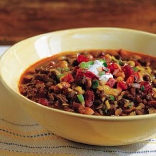 Beef Chili with Masa Harina in a Stovetop Pressure Cooker.