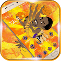 Golden theme basketball player icon