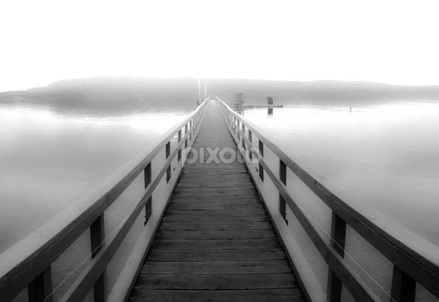 Haze by Shaun Groenesteyn - Landscapes Waterscapes ( water, black and white, fog, pier, ocean, landscape, dock )