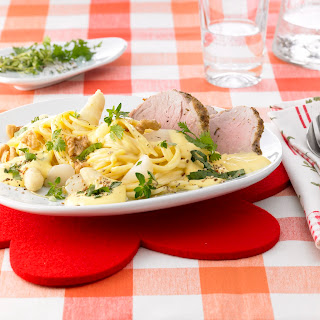 Bärlauch-Spaghetti mit Spargel und Schweinsfilet
