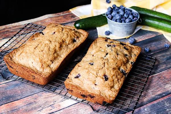 Two Loaves Blueberry Zucchini Bread Ready To Be Sliced.