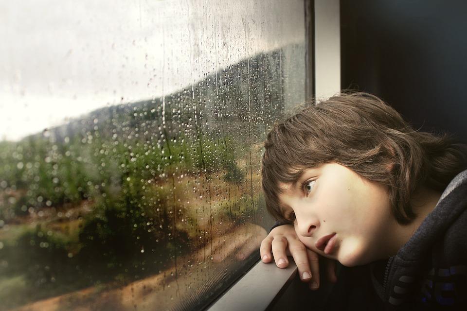 人, 少し, 少年, 子ども, 子, 内部, 鉄道, レール, 車, 外を見て, ウィンドウ, 疲れて