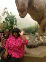 Photo: VK and Taneya making crazy faces w/ the t-rex behind us