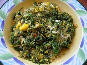 Photo: stir-fried cha-om with eggs & bean thread
