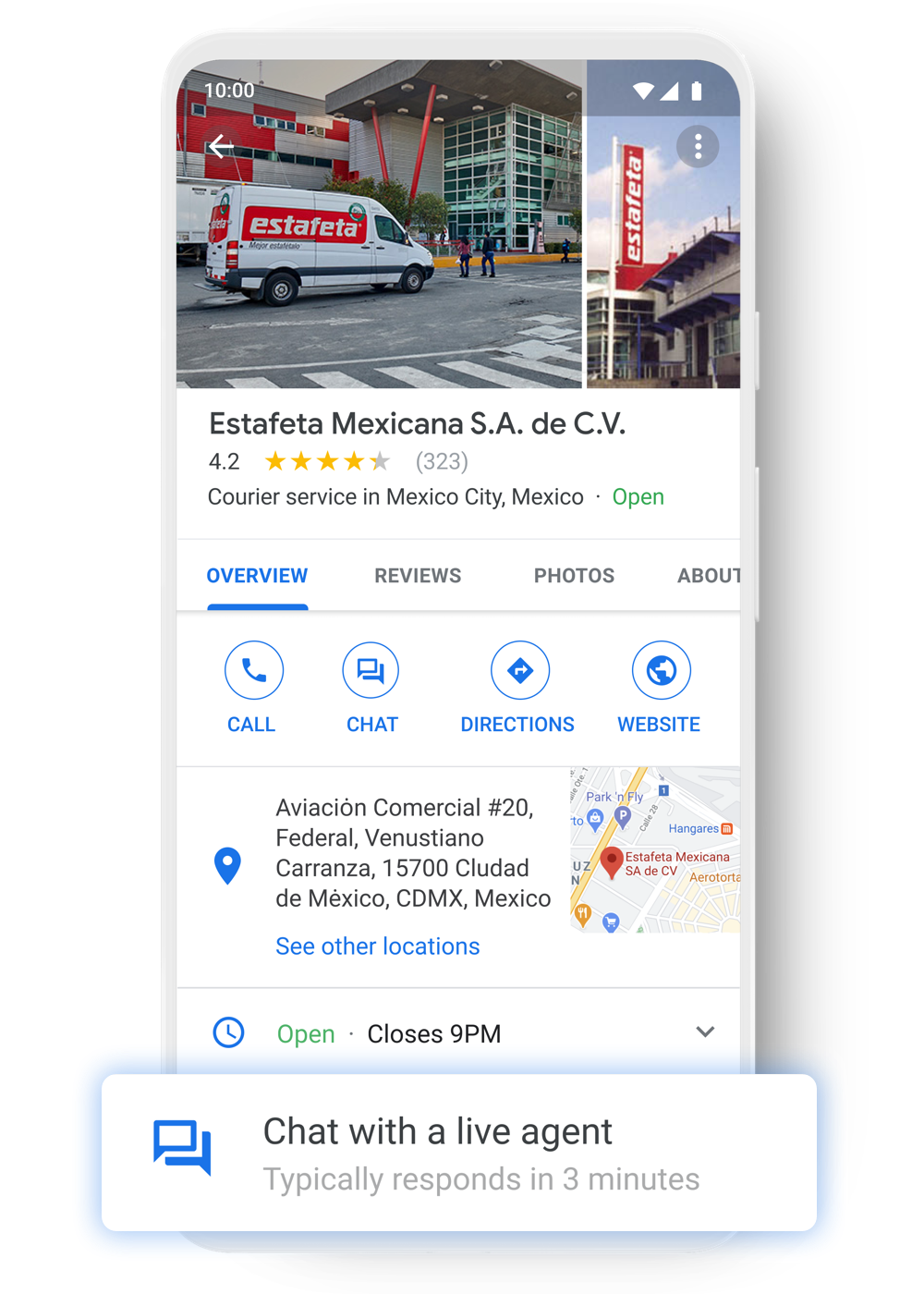 Customers chat with Estafeta through Google Maps