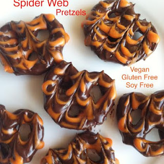Chocolate Covered Spider Web Pretzels Vegan Gluten Free Soy Free