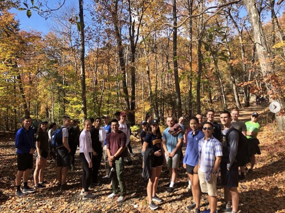 Cadets at the base of Sleeping Giant before hiking to the top