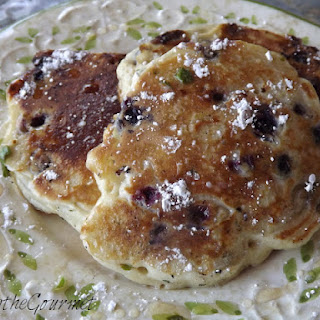 Blueberry and Basil Pancakes with Ginger and Lemon Zest Syrup
