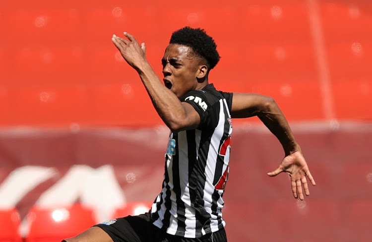 Newcastle United's Joe Willock celebrates scoring their first goal. CLIVE BRUNSKILL/REUTERS