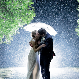 Rain by Lood Goosen (LWG Photo) - Wedding Bride & Groom ( wedding photography, wedding photographers, brides, wedding dress, love, married, wedding day, couple, wedding photographer, bride and groom, bride, groom, night shoot, rain, bride groom )