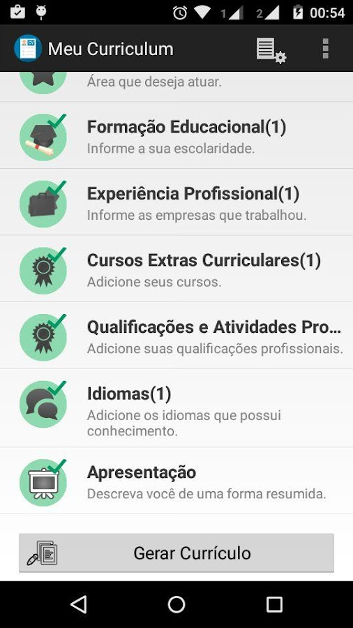 resume free screenshot