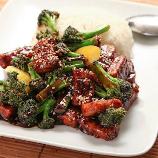 Vegan Crispy Stir-Fried Tofu With Broccoli.