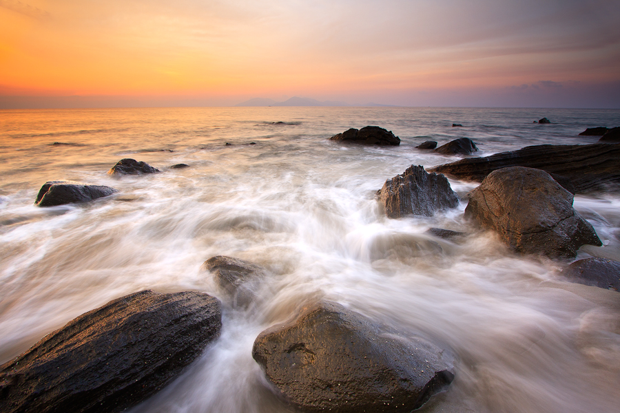 :: Motion Batee :: by Tuxedo Photography - Landscapes Waterscapes ( aceh, waterscape, sunset, rock, beach, landscape )