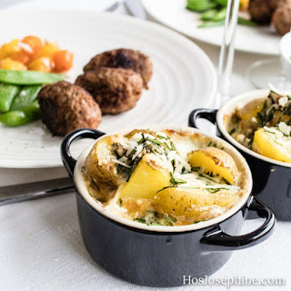 Creamed Spinach Potato Gratin with spicy Lamb Patties