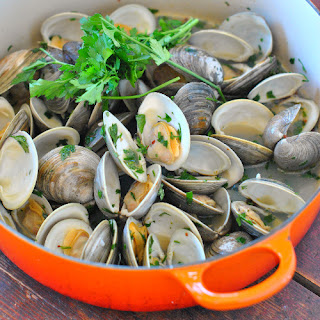 Simple Garlicky Clams with Lemon and Parsley.