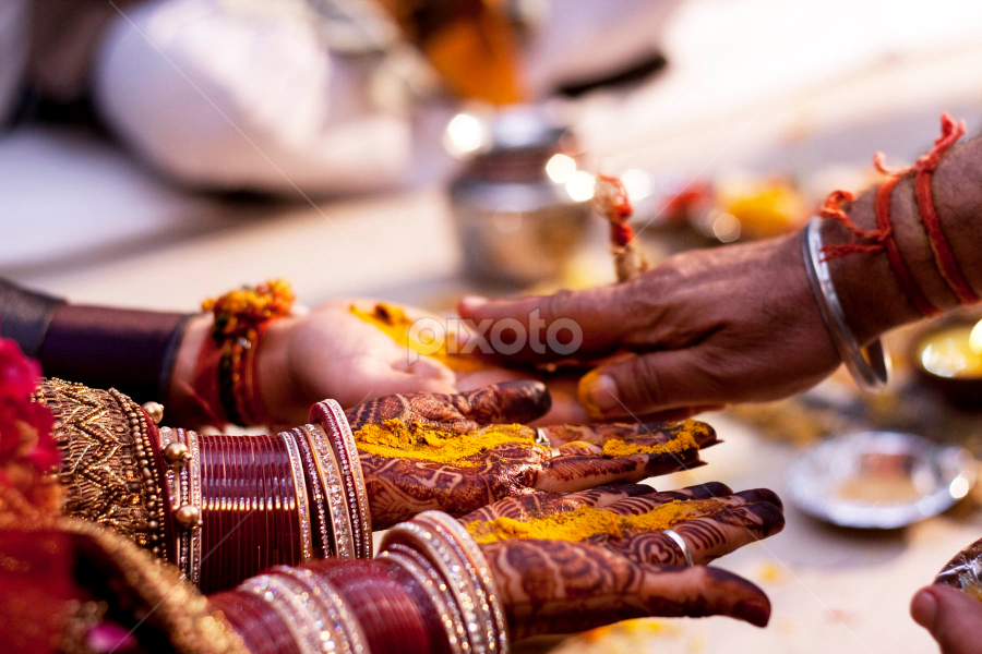 Moments by Anurag Bhateja - Wedding Ceremony ( pandit, haldi, wedding, india, bride, groom, turmeric )