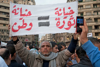 Photo: A man in Tahrir Square expresses his disapproval of the ruling military regime.