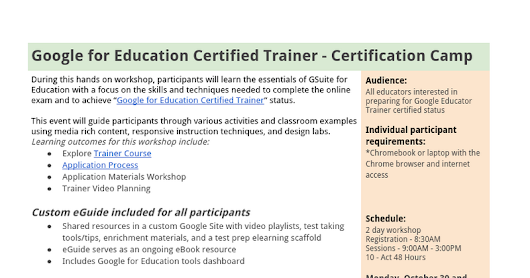 Google Certified Trainer Flyer Oct. 30-31, 2017
