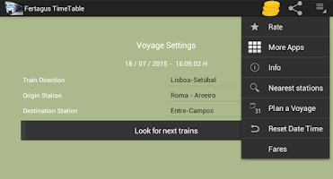 Screenshot of Fertagus Trains TimeTable
