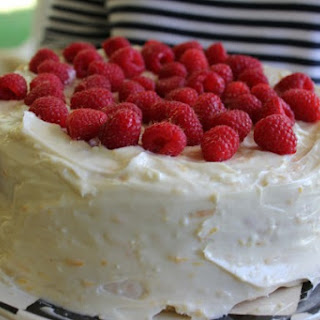 White Chocolate Raspberry Cake with Orange Cream Frosting