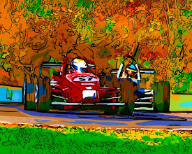 Photo: Race Cars and Fall Colors