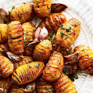 Mini Hasselback Potatoes with Rosemary and Garlic.