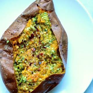 Pesto Baked Sweet Potatoes.