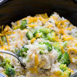 Slow Cooker Chicken, Broccoli and Rice Casserole.