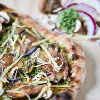 Pesto, Mushroom, Red Onion & Smoked Gouda Pizza.