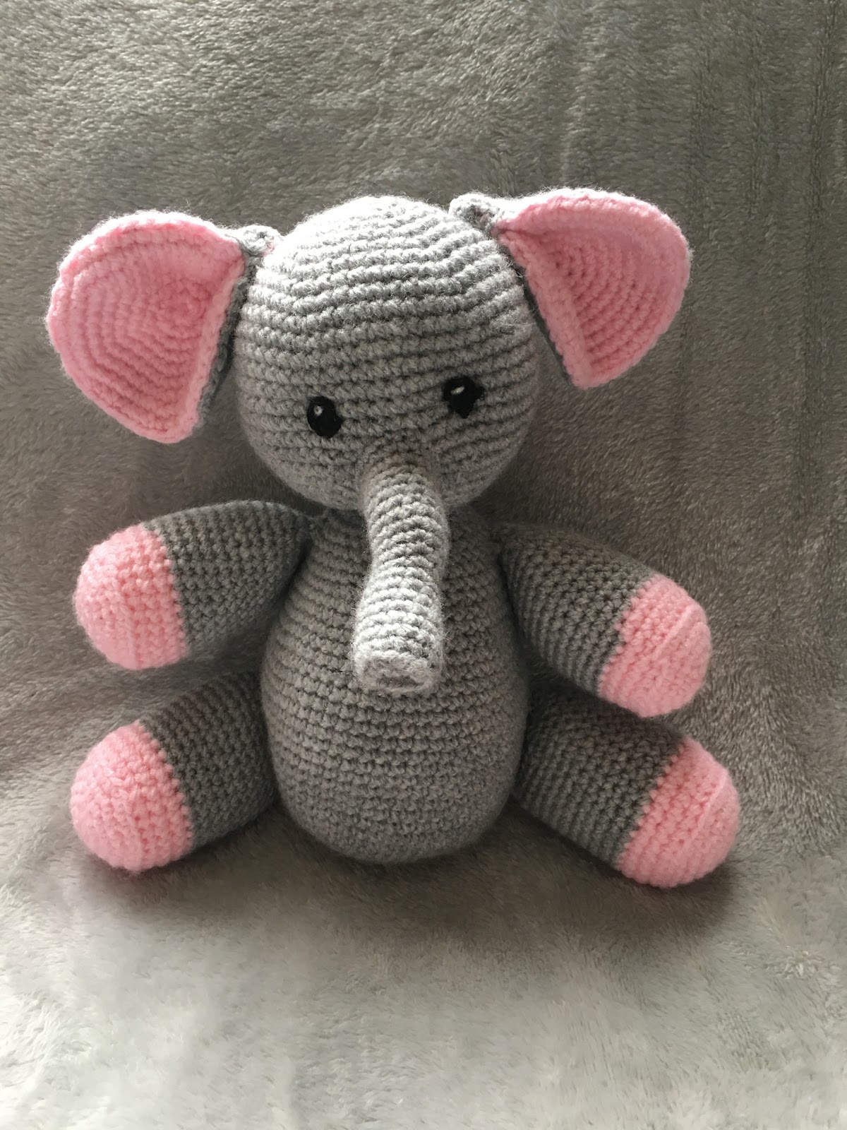 Handmade Crochet Elephant Grey and Pink