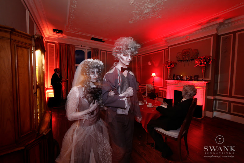 Photo: #Spooky Couple, #Halloween Wedding, #Guest #Hempstead House Halloween Inspired Wedding. Wedding Planning, Event Design & Production by SWANK Productions at Hempstead House at Sands Point Preserve, www.swankproducti...