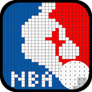 Free color by number NBA Logo - Drawing Pixel Art