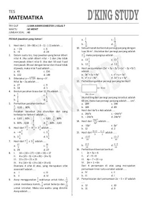 Soal Matematika Kelas 7 Smp Semester 2 Pdf