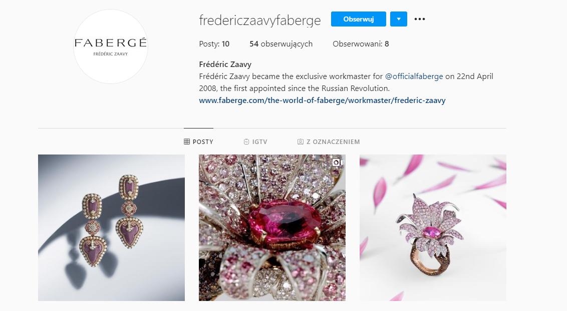 Profil linii produktowej od Frédéric Zaavy dla Faberge (screen)