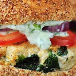 Spinach and Feta Turkey Burger with Tzatziki Sauce.