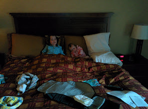 Photo: Fianna and Julia in bed at Yosemite, Easter 2014