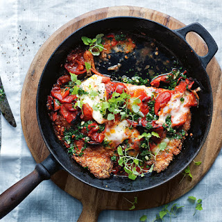 Chicken Schnitzel with Chile Cherry Tomatoes and Mozzarella